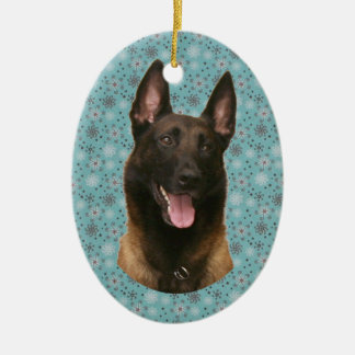 belgian malinois ceramic oval ornament