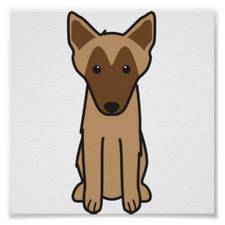 Belgian Malinois Dog Cartoon Poster