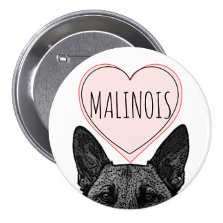 Belgian Malinois Dog Lover Heart Large Button
