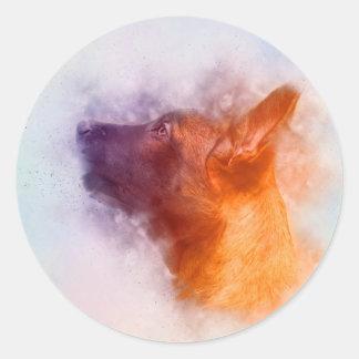 Belgian Malinois Puppy Painting - Mechelaar Classic Round Sticker