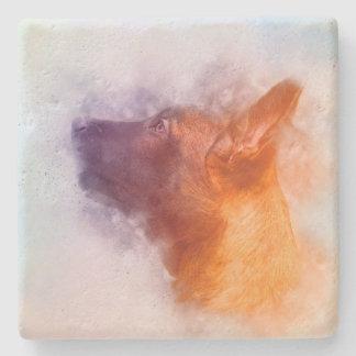 Belgian Malinois Puppy Painting- Mechelaar Stone Coaster