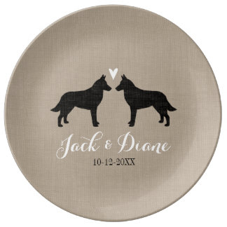 Belgian Malinois with Heart Porcelain Plates