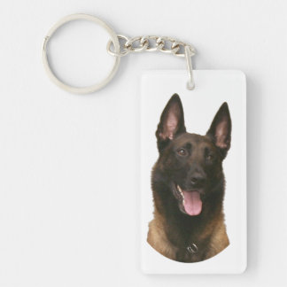 belgian malinois with text keychain