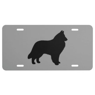 Belgian Sheepdog Silhouette License Plate