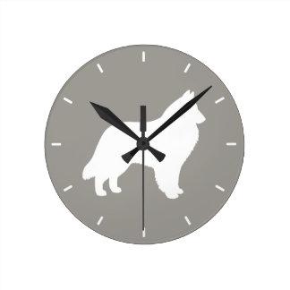 Belgian Sheepdog Silhouette Round Clock