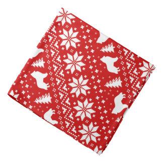 Belgian Sheepdog Silhouettes Christmas Pattern Red Bandana