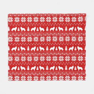 Belgian Sheepdog Silhouettes Christmas Pattern Red Fleece Blanket