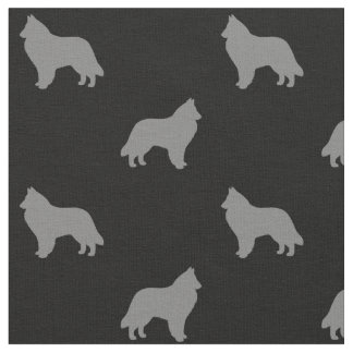 Belgian Sheepdog Silhouettes Pattern Fabric
