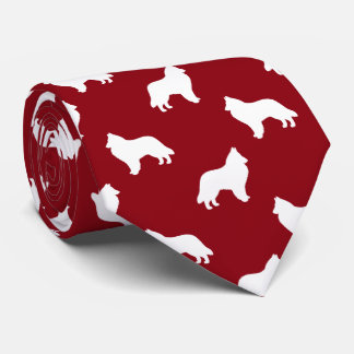 Belgian Sheepdog Silhouettes Pattern Red Tie