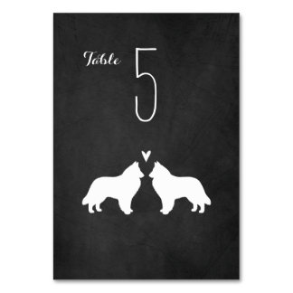 Belgian Sheepdog Silhouettes Wedding Table Card