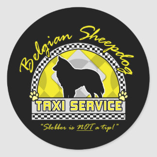 Belgian Sheepdog Taxi Service Classic Round Sticker