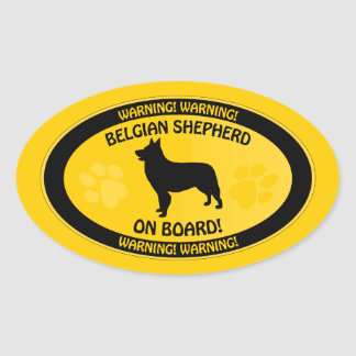 Belgian Shepherd Xing Oval Sticker