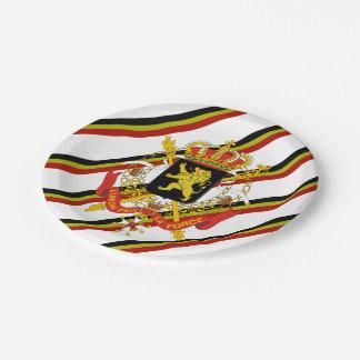 Belgian stripes flag paper plate