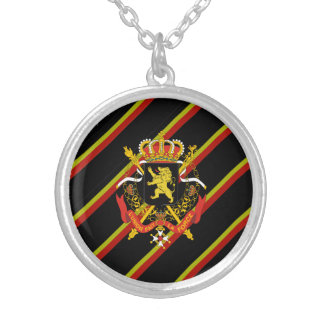Belgian stripes flag silver plated necklace