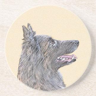 Belgian Tervuren 2 Painting - Original Dog Art Coaster