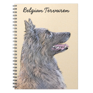 Belgian Tervuren 2 Painting - Original Dog Art Spiral Notebook