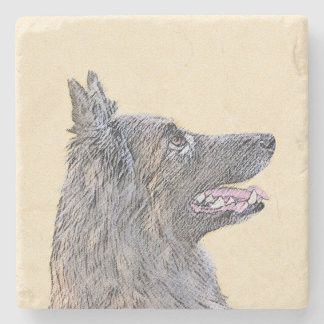 Belgian Tervuren 2 Painting - Original Dog Art Stone Coaster