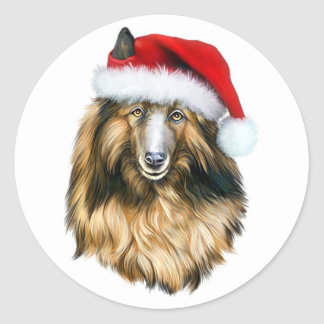 Belgian Tervuren Christmas Santa Classic Round Sticker
