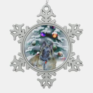 Belgian Tervuren Christmas Snowflake Pewter Christmas Ornament