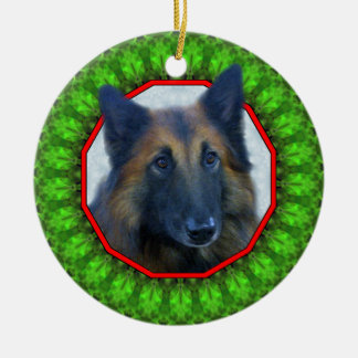 Belgian Tervuren Happy Howliday Ceramic Ornament