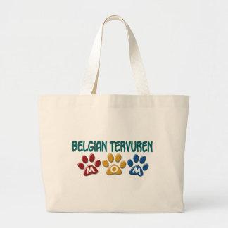 BELGIAN TERVUREN MOM Paw Print Tote Bags