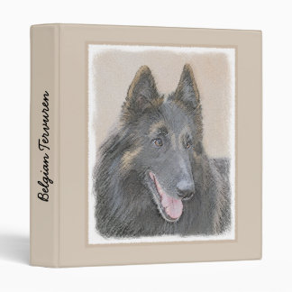 Belgian Tervuren Painting - Cute Original Dog Art 3 Ring Binders