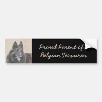 Belgian Tervuren Painting - Cute Original Dog Art Bumper Sticker