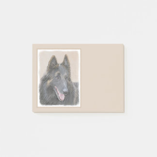 Belgian Tervuren Painting - Cute Original Dog Art Post-it Notes