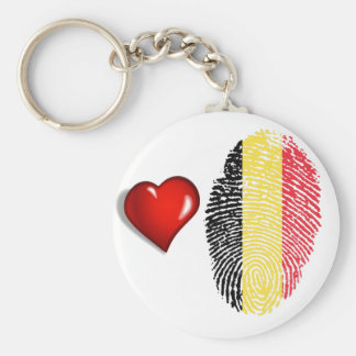 Belgian touch fingerprint flag basic round button keychain