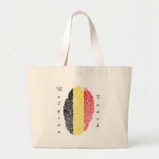 Belgian touch fingerprint flag large tote bag