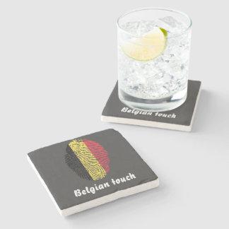 Belgian touch fingerprint flag stone coaster