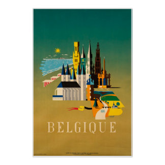 Belgique, Belgium, Travel Poster