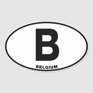 Belgium B Oval International Identity Code Letters Oval Sticker