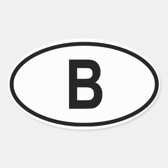 "Belgium ""B"" Oval Sticker"