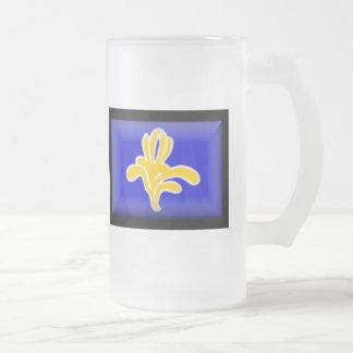 Belgium-Brussels Flag Frosted Glass Beer Mug
