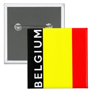 belgium country flag text name 2 inch square button
