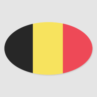 Belgium* Euro-Style Oval Flag Oval Sticker