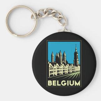 belgium europe art deco retro travel vintage key chain
