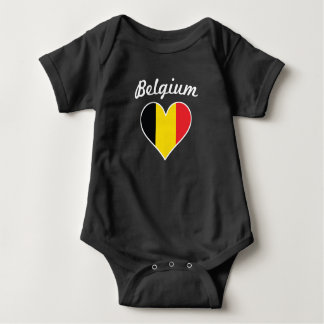 Belgium Flag Heart Baby Bodysuit