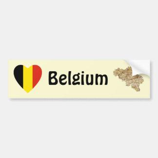Belgium Flag Heart + Map Bumper Sticker