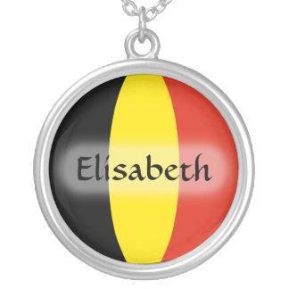Belgium Flag + Name Necklace