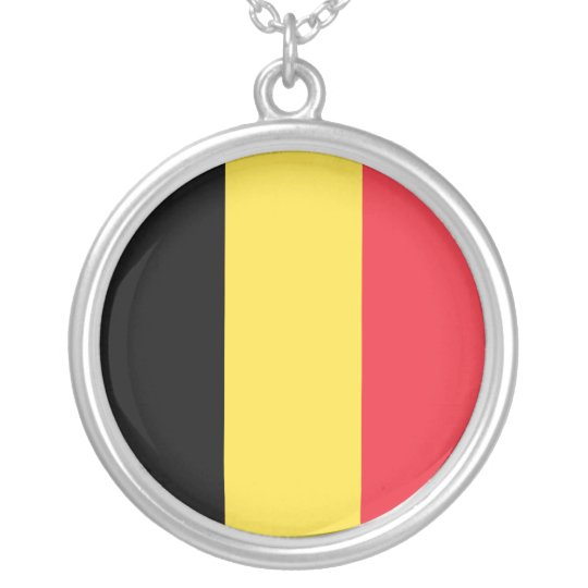 Belgium Flag Silver Plated Necklace