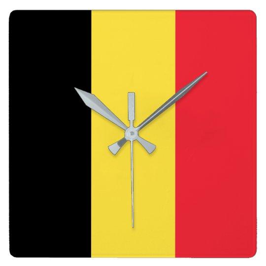 Belgium Flag Square Wall Clock