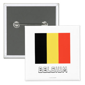 Belgium Flag with Name 2 Inch Square Button
