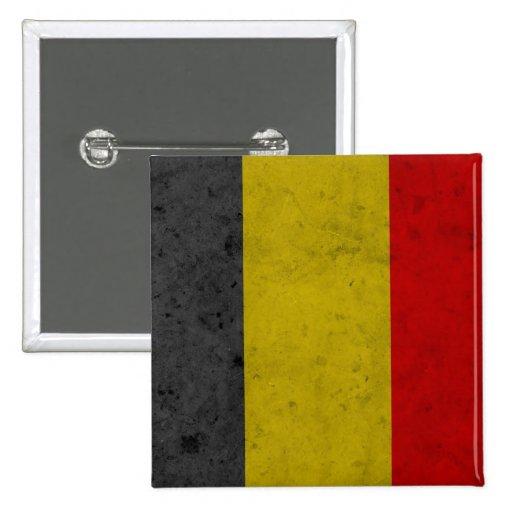 Belgium Grunge Flag Design Pinback Button