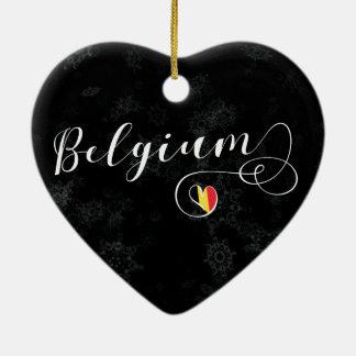 Belgium Heart, Christmas Tree Ornament, Belgian Ceramic Ornament