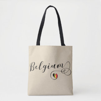 Belgium Heart Grocery Bag, Belgian Flag Tote Bag