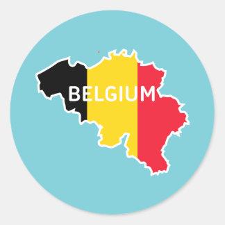 Belgium Map and Flag Classic Round Sticker