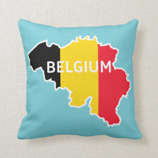 Belgium Map and Flag Throw Pillow