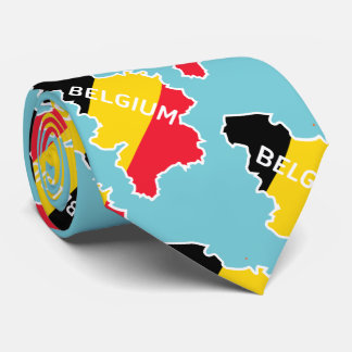 Belgium Map and Flag Tie